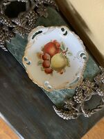 Antique Hand Painted Pierced Reticulated Porcelain Plate Strawberries Apples