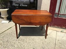 Antique Primitive NICE Drop Leaf Table 19th Century with Drawer Eagle Brass Pull