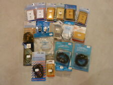 Lot 19 assorted TV Telephone Wall Plates Antenna Splitters Plugs Cables Jacks