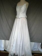 Silver Formal Evening Prom Dress Satin Chiffon Vintage Size 9/10