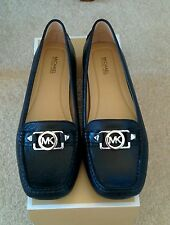 Size 7 Michael Kors Shoes Black Leather / Silver MK Logo Loafers Moccasins Flats