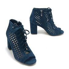GIANNI BINI Suede Perforated Ankle Boot 7.5M Peep Toe Lace-up Chunky Heel Shoe