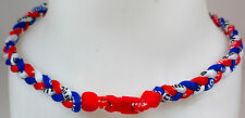 "NEW 20"" Custom Clasp Braided Sport Red White Royal Blue Tornado Necklace Twisted"