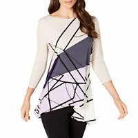 Alfani Women's Printed Swing Top, Large, Purple