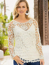 Together Size S 8 10 Cream Crochet TOP Overtop JUMPER Spring Summer Holiday  £64