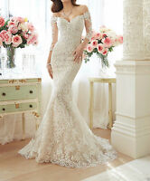 New Lace White/Ivory Wedding Dresses Bridal Gown Custom Made Size 2-28+++