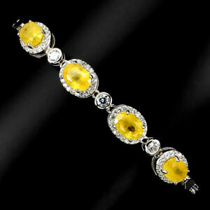Oval Yellow Sapphire 7x5mm Cz 14K White Gold Plate 925 Sterling Silver Bracelet