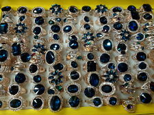 wholesale lots mixed 20pcs blue crystal sapphire wedding lady's rose gold rings