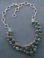 """STERLING SILVER FLASHY LABRADORITE STATEMENT NECKLACE 19"""" SOLID"""