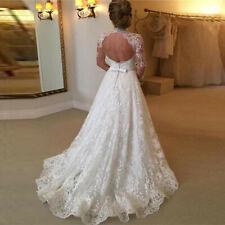 UK Formal White Princess Marriage Wedding Dress Bridal Ball Gown Dress Size 8-14