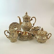 More details for mitterteich bavaria coffee set for four white and gold vintage rare