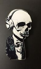 Vintage Funky Étrange Tête De Mort Squelette Casque Audio Kitsch Emo Steampunk