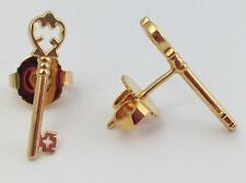Alex and Ani Skeleton Key Gold Stud Earrings, New
