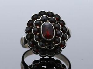 antiker Ring Rosenschliff Granaten 800 Silber Handarbeit / a203