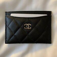 CHANEL Leather Caviar Black Card Case Cardholder Silver CC NWB