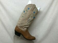 Dan Post Brown All Leather Suede Floral Cowboy Western Boots Womens Size 5.5 C