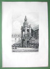 ORIGINAL ETCHING Print - ROUEN France Old Renaissance Tower