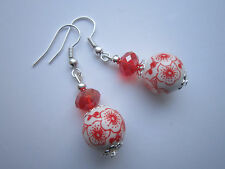 Silver Plated Drop / Dangle Ceramic and Crystal Earrings -  Red Floral