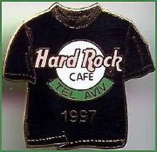 Hard Rock Cafe TEL AVIV ISRAEL 1997 Black TEE T-SHIRT PIN - HRC Catalog #9695