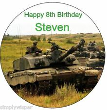 """Army Tank Personalised 7.5"""" Birthday Cake Topper Decoration Sugar Icing Soldiers"""