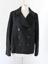 J Crew Womens Solid Black 100% Wool Peacoat Jacket Double Breasted Coat Size 8