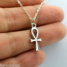 Rhodium Silver Religious ANKH Cross Charm Pendant Necklace Egyptian Pagan Faith