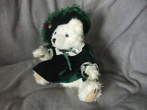 """10"""" seated Pickford Bears Bianca cream bear green outfit brass button"""