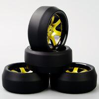 HobbyGo D6NKG 1:10 RC Speed 0 Degree Tires Tyre Wheel Rim 4PCS For HPI Drift Car