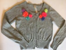 Cherokee Brand Girls Cardigan Sweater Sz6/6X Small Gray/Flowered (Minor Flaws)