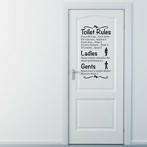 BIG Wall art toilet rules quote vinyl wall stickers decal removable home decor