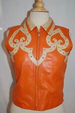 Sexy! VALENCIA orange STUDDED LEATHER WESTERN BIKER VEST rodeo JACKET sz M