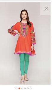 Rang Ja Extra Small Orange Embroidered Kurta/dress