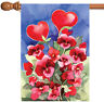Toland Red Pansies 28 x 40 Colorful Red Heart Flower Valentine House Flag