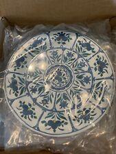 """Pottery Barn Veranda Blue Unbreakable Melamine Dinner Plates 11"""" Set Of 4"""