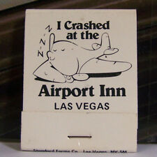 Vintage Matchbook P1 Las Vegas Nevada I Crashed At The Airport Inn Plane Fly