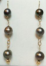 3 inch Pair Tahitian super luster baroque pearl  long dangle earrings 14k gold