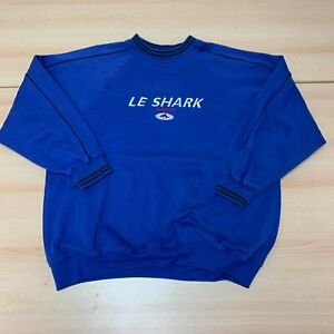 Shark Sweatshirt Mens Extra Large XL Blue Pullover Crew Neck Embroidered Logo