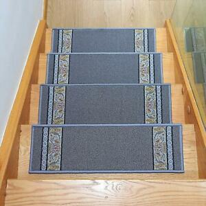 14 Pcs Stair Treads Non Slip Indoor Stair Mat Floral Design 8.5x26 In Gray