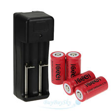 4x 2400Mah 3.7V 16340 Rechargeable Battery+Dual slot 18650 16340 14500 Charger