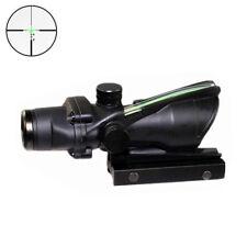 New ACOG Style 4X32 Real Green Fiber Source Crosshair Illuminated Rifle Scope