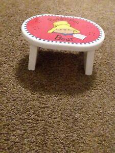Paddington Bear Kids Step Stool/Footstool Solid Wood 1995 Eden Toys- Free Cup!