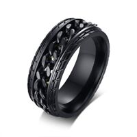 8mm Cool Black Spinner Chain Punk Ring Men's Stainless Steel Rotatable Male Gift