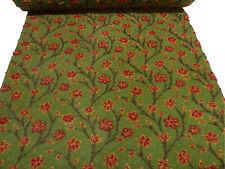 Stoff Ital. Musterwalk Kochwolle Walkloden Relief Blumen Ranken grün gelb rot