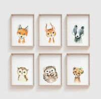 Watercolour Baby Woodland Animal Nursery Prints / Bedroom Art Cute Kids Unisex