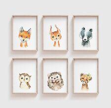 Watercolour Baby Woodland Animal Nursery Prints / Bedroom Art Cute Kids Unisex