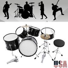 Drum Set 5 PC Complete Kids Junior Cymbals Full Size Drum Kit Starter Black New