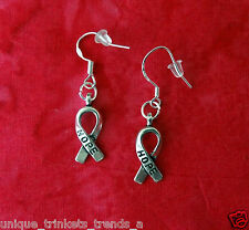 MOTHERS DAY GIFT FOR HER MOM~AWARENESS RIBBON HOPE EARRINGS STERLING SILVER HOOK