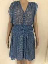 The kooples bleu lagon Floral à ourlet asymétrique 100% SOIE robe taille XXS