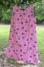 Handmade A-Line Girl'S Pink Gingham W/ Pur Floral Sleeveless Seersucker Dress -8