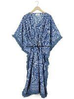 Anokhi,Vintage Indian Block Print cotton Kaftan Maxi Dress,Hippy Boho Caftan
